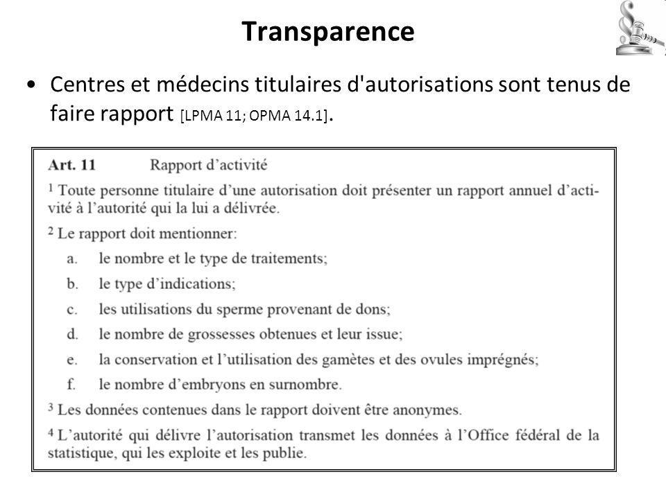 Transparence Centres et médecins titulaires d autorisations sont tenus de faire rapport [LPMA 11; OPMA 14.1].